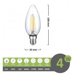 Lampadina led filamento oliva 4w attacco piccolo E14 trasparente luce calda fredda bianca a basso consumo