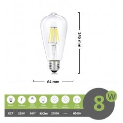 Lampadina led filamento vintage 8w attacco grande E27 trasparente luce bianco freddo calda lineare a basso consumo