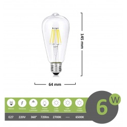 Lampadina led filamento vintage 6w attacco grande E27 trasparente luce calda fredda bianca a basso consumo