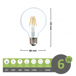 Lampadina led filamento G80 6w E27 globo sfera palla trasparente luce calda 2700k fredda bianca 6500k
