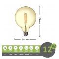 Lampadina led filamento G125 12w attacco grande E27 globo sfera palla ambra luce calda 2700k