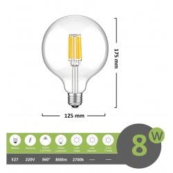 Lampadina led filamento G125 8w attacco grande E27 globo sfera palla trasparente luce calda 2700k