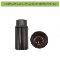 Portalampada per lampadina attacco piccolo E14 nero in termo plastica 250V