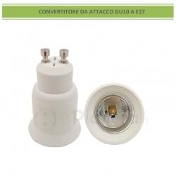 Adattatore convertitore da GU10 a attacco grande E27 portalampada riduttore bianco 220V per lampadina