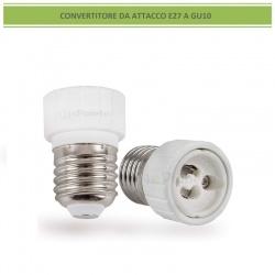 Adattatore convertitore da attacco grande E27 a GU10 portalampada riduttore bianco 220V per lampadina