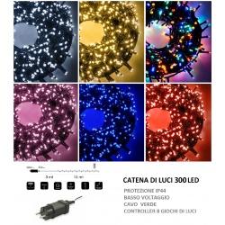 Catena di luci Natale 300 led serie luminosa natalizie per esterno interno albero feste cavo verde decorativa
