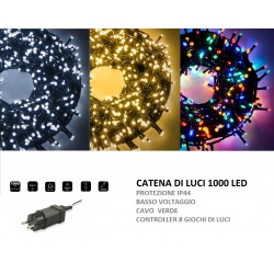 Catena di luci Natale 1000 led serie luminosa natalizie per esterno interno albero feste cavo verde decorativa