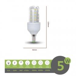 Lampadina led E14 5w 3U luce tubolare tubo attacco piccolo lineare bianca fredda naturale calda