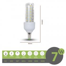 Lampadina led E14 7w 3U luce tubolare tubo attacco piccolo lineare bianca fredda naturale calda
