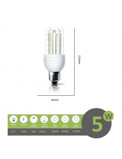 Lampadina led E27 5w 3U luce tubolare tubo attacco grande lineare bianca fredda naturale calda