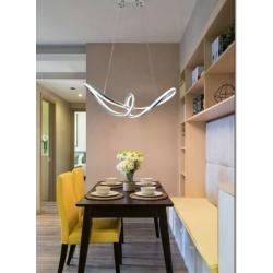 Lampadario led a sospensione 57w intrecciato design moderno argento per cucina camera soggiorno
