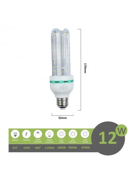 Lampadina led E27 12w 3U luce tubolare tubo attacco grande lineare bianca fredda naturale calda