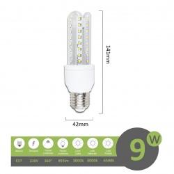 Lampadina led E27 9w 3U luce tubolare tubo attacco grande lineare bianca fredda naturale calda