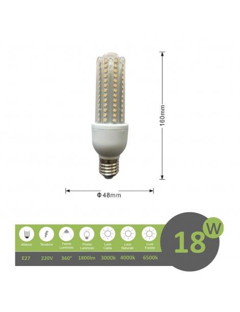 Lampadina led E27 18w 4U luce tubolare tubo attacco grande lineare bianca fredda naturale calda