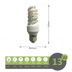 Lampadina led E27 13w tortiglione vortice luce spirale attacco grande bianca fredda naturale calda