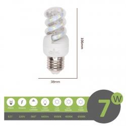 Lampadina led E27 7w tortiglione vortice luce spirale attacco grande bianca fredda naturale calda