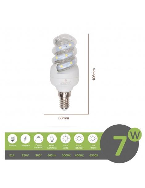 Lampadina led E14 7w tortiglione vortice luce spirale attacco piccolo bianca fredda naturale calda