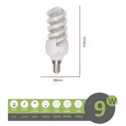 Lampadina led E14 9w tortiglione vortice luce spirale attacco piccolo bianca fredda naturale calda