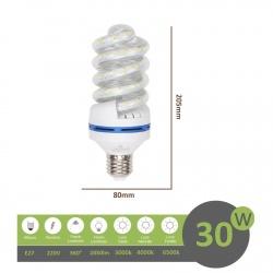 Lampadina led E27 30w tortiglione vortice luce spirale attacco grande bianca fredda naturale calda