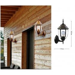 Applique da parete lanterna E27 bianco nero bronzo in vetro metallo design vintage verso l'alto verticale per esterno giardino