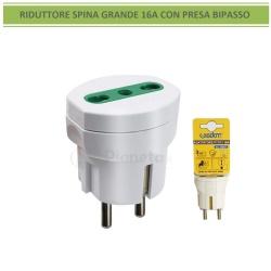 Adattatore riduttore spina grande 16A P17/11 2P/T con presa bipasso bivalente bianco