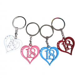 Bomboniera Portachiavi per 18 ANNI (Diciottesimo) con cuore bianco rosa celeste rosso