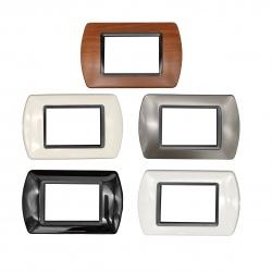 Placche compatibili supporti Bticino Living International light 3 4 7 posti moduli nero bianco legno noce grigio scuro avorio