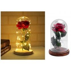 Rosa rossa in cupola campana di vetro con luci led lampada da tavolo decorativa idea regalo fiore San valentino Natale